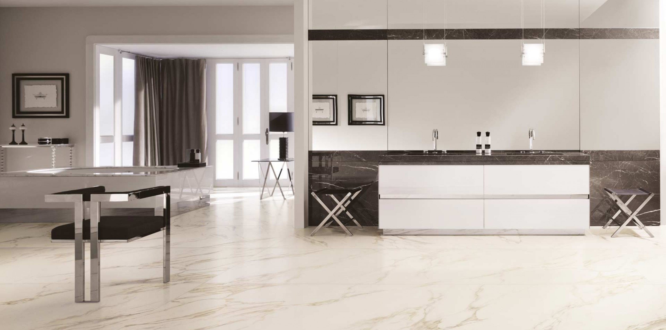 Calacatta Gold Marble Look Porcelain Tiles